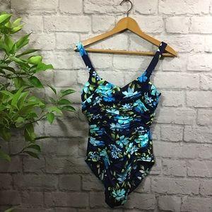💙SALE! 3/$15 Blue floral gathered swim suit sz 14